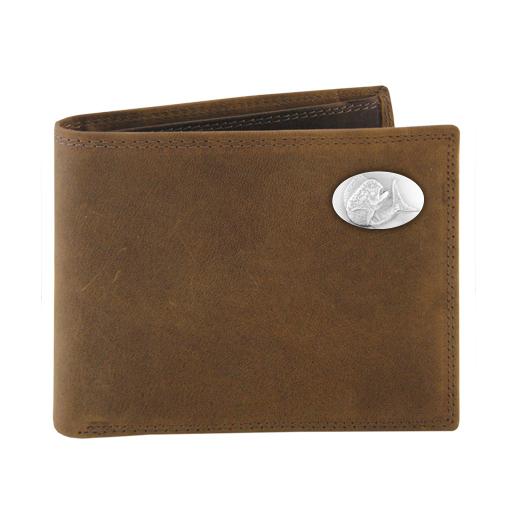 Zeppelin Concho Leather Bi-Fold Pass Case Wallet Brown