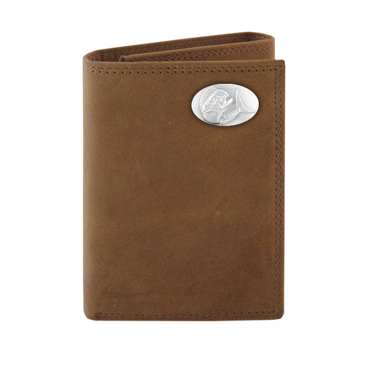 Zeppelin Concho Leather Tri-Fold Wallet Brown