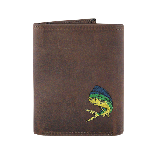 Zeppelin Leather Embroidered Tri-Fold Wallet Gray