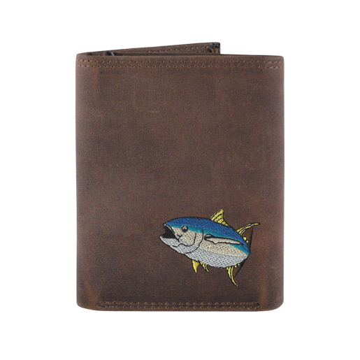 Zeppelin Leather Embroidered Tri-Fold Wallet Khaki