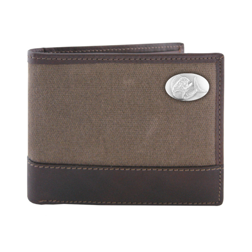Zeppelin Concho Leather & Canvas Bi-Fold Pass Case Wallet Brown