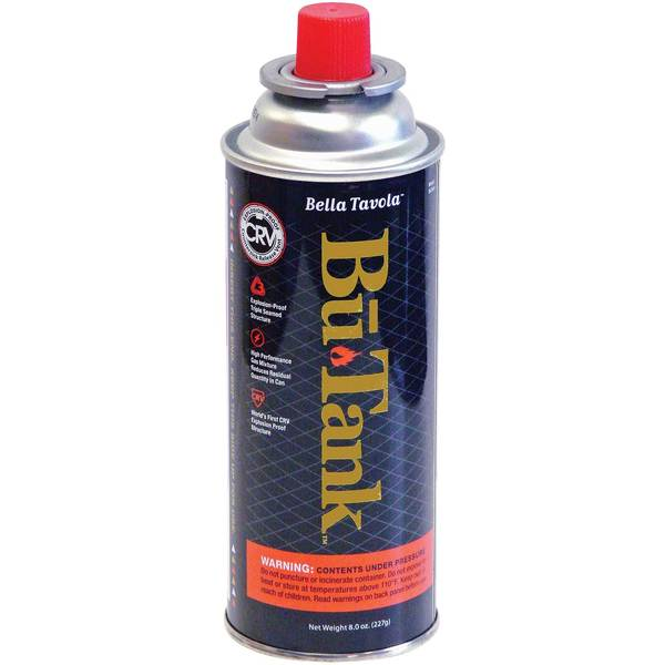 Bella Tavola BuTank Fuel Cartridge with Notch Collar, 8oz Sale $4.99 SKU: 15939721 ID# BUTANK UPC# 48491400701 :
