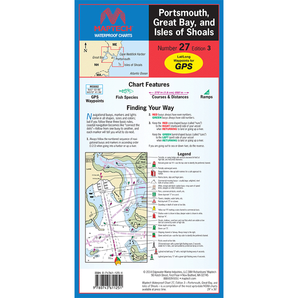 Maptech Portsmouth Great Bay and Isles of Shoals, 3rd Edition Sale $21.95 SKU: 15940091 ID# WPC027-03 UPC# 9780743611251 :