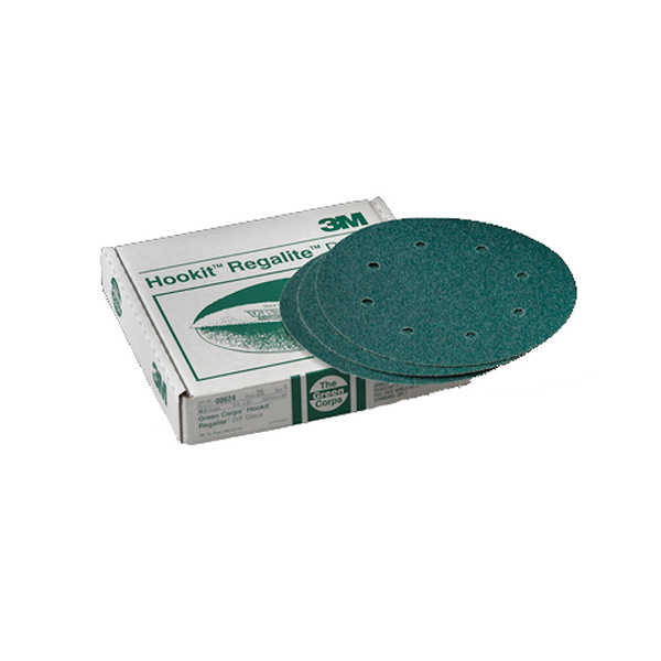 3M Green Corps Hookit Disc, 8, 40 Grit, Dust Free (with holes), (25pk)