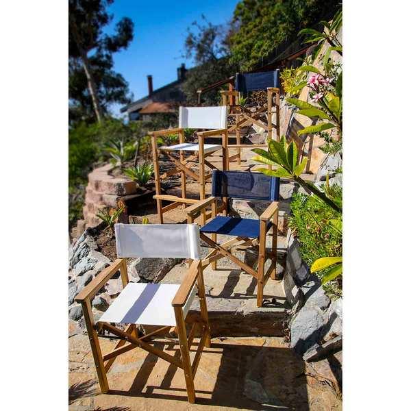 Seateak Teak Captains Chair, Blue