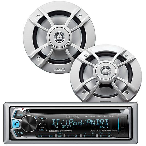 Kenwood KMR-D362BT CD Receiver/KFC-1633MRW Speaker Package