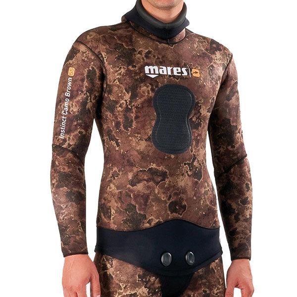 Mares Instinct Wetsuit Jacket Camo Brown, 7mm, Size 2