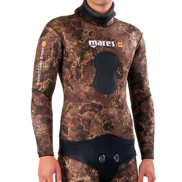 Mares Instinct Wetsuit Jacket Camo Brown, 7mm, Size 6
