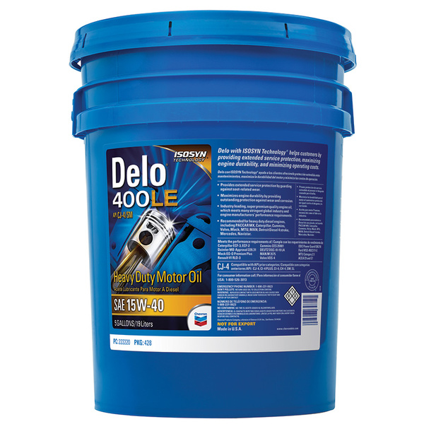 Chevron Delo 400LE Synthetic Motor Oil SAE 5W-40, 5 Gallon