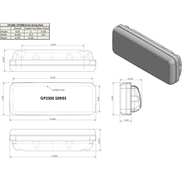 Ocean Equipment InstrumentPod Un-Cut (usable face = 15.3w x 5h for 12x9D wide guard) Sale $259.99 SKU: 16525461 ID# GP2300 :