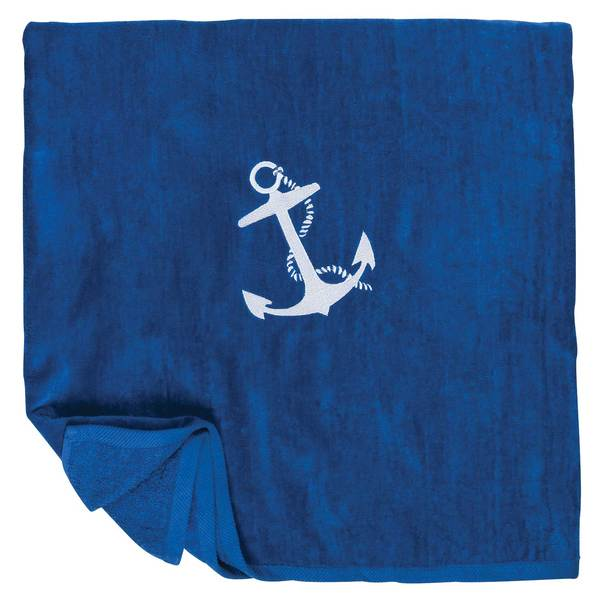 Cotton Love Anchor Towel, Royal Blue