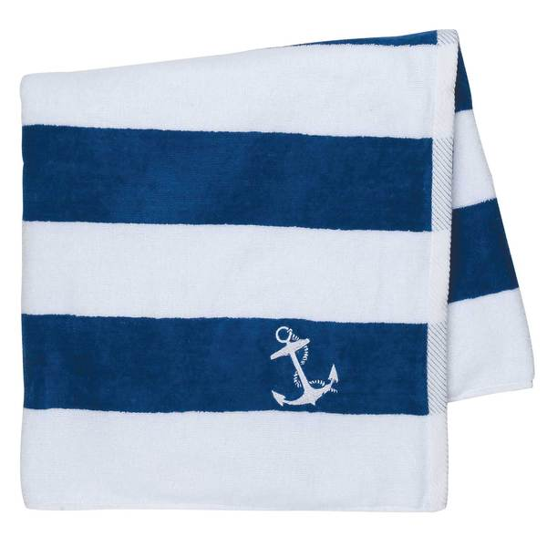 Cotton Love Cabana Anchor Towel, Royal/White