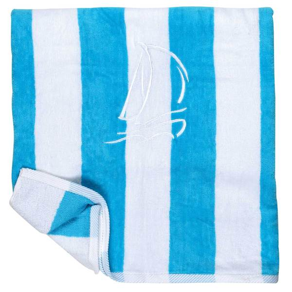 Cotton Love Cabana Sail Towel, Turquoise/White