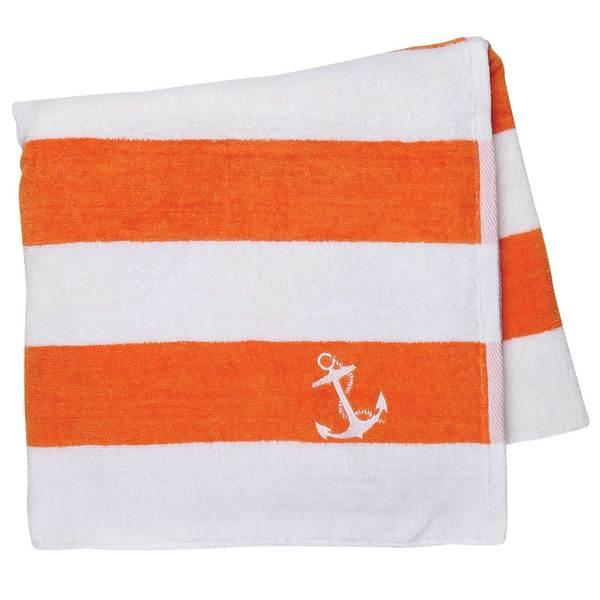 Cotton Love Cabana Anchor Towel, Orange/White