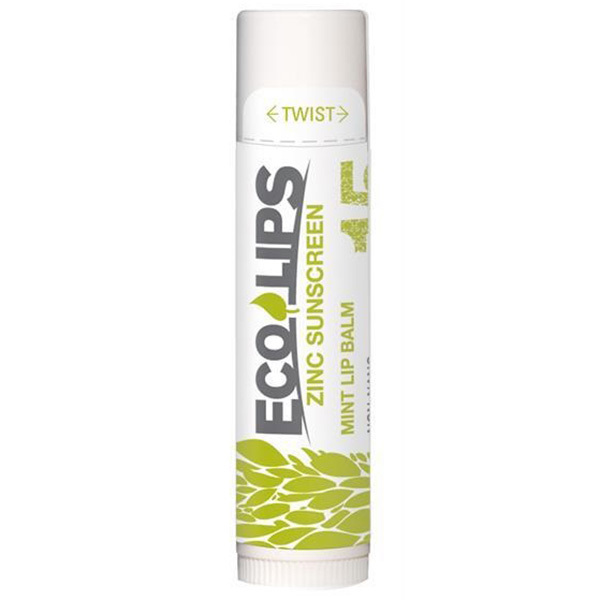 Eco Lips Zinc Sunscreen Mint Lip Balm, SPF 15