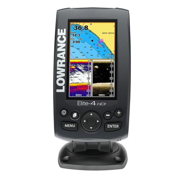 Lowrance Elite-4 HDI Chartplotter/Fishfinder with 83/200 455/800kHz Transducer & Nautic Pro Cartography