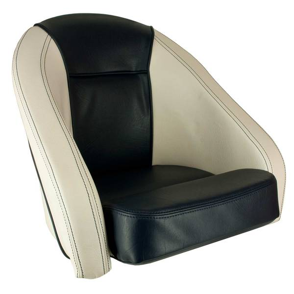 Springfield marine white and blue sport bucket seat west for Fishing bucket seat