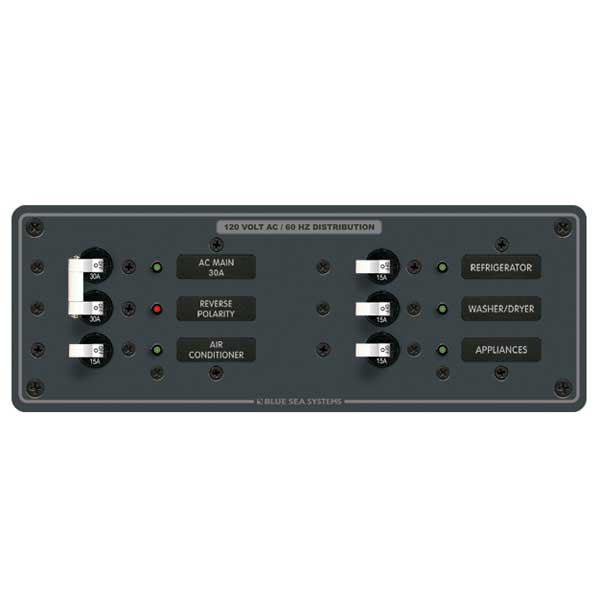 Blue Sea Systems 120V AC Main, A-Series, Main + 4 Positions Sale $209.99 SKU: 1931278 ID# 8099 UPC# 632085080990 :