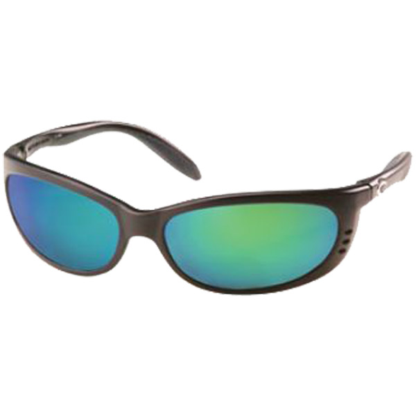 Fathom Sunglasses, Matte Black Frames with 400 Green Mirror Lenses