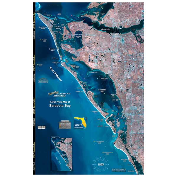 Standard Mapping Service Sarasota Bay, Florida Laminated Map