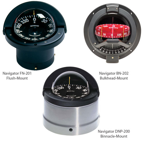 Ritchie Navigation Flush-Mount Navigator Compass, 4-1/2 CombiDamp Dial with Large Numerals