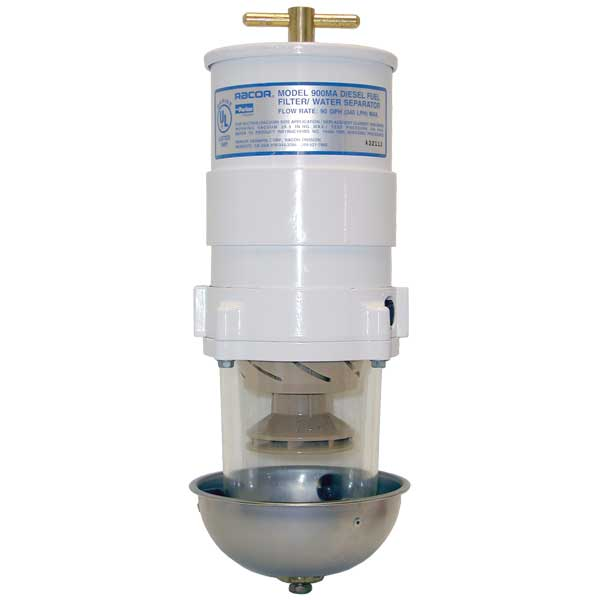 Racor Marine Fuel Filter/Water Separator, 90 GPH (341 LPH), 2 Micron, 7/8-14 UNF (SAE J1926), 15 PSI, Shielded See-thru Polymer Bowl