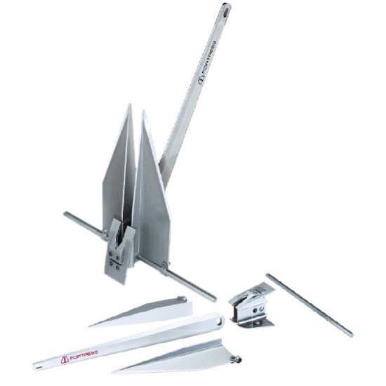 Fortress Anchors 15lb. Aluminum Anchor for 39-45' Boat, Replaces 19-28lb. Steel Anchor, 36L x 29W Stock, 21 Fluke Length