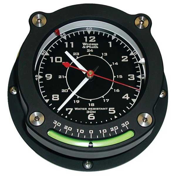 Weems & Plath Nautilus Waterproof Quartz Clock w/Inclinometer