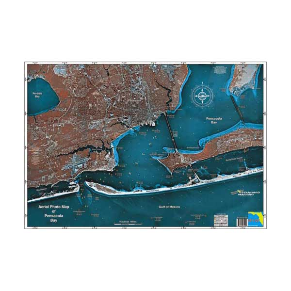 Standard Mapping Service Pensacola Bay, Florida Laminated Map