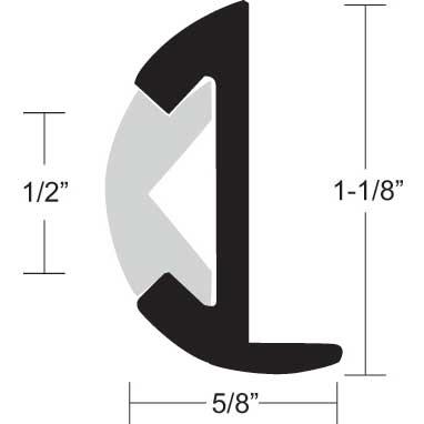 TACO Aluminum Rub Rail 1 1/8H x 5/8W x 12'L, #8 Screws