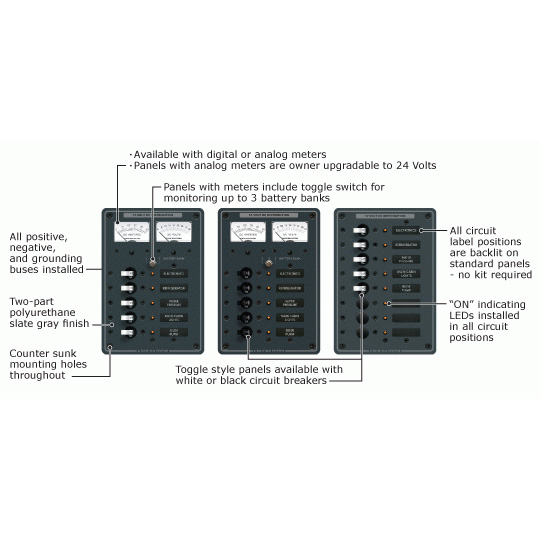 Blue Sea Systems 13-Position 12/24V DC Toggle Breaker Panel, 10 Included Circuits, 10-1/2 x 7-1/2
