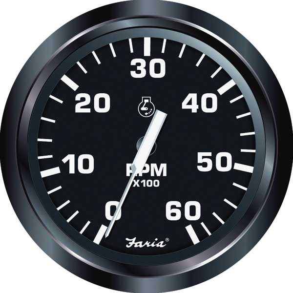 Faria Instruments Euro Tachometer, 4, 06,000 rpm, 4-, 6-, 8-cyl. IB & I/O gas engines