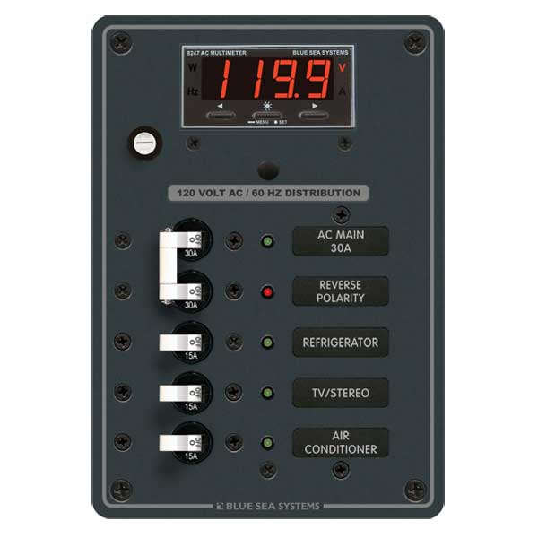 Blue Sea Systems AC Main + 3 Positions with Digital Mutlimeter