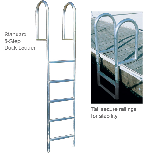 International Dock Straight Dock Ladder, 7-Step, Wide Rung