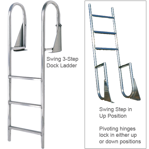 International Dock Aluminum Swing Ladder, 7-Step, Wide Rung