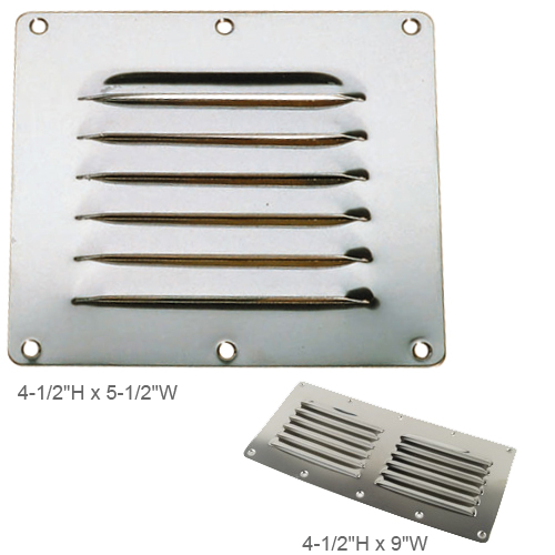 Whitecap Flat Louvered Ventilator, 4-1/2H x 9W