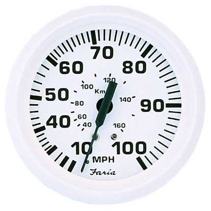 Faria Instruments Speedometer - Dress White - 55 mph