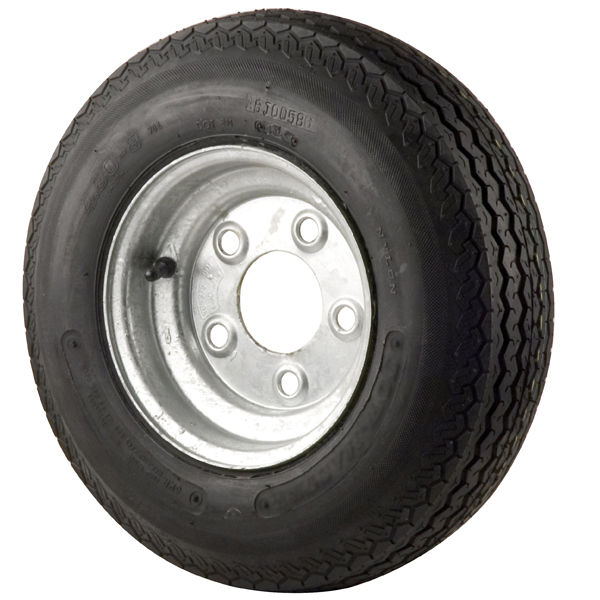 C E Smith Trailer Tires & Wheels - Galvanized Solid, 8 x 3.75 Rim, 5 x 4.5 Bolt, 480 x 8B, Bias, 590 Capacity