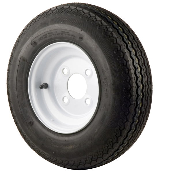 C E Smith Trailer Tires & Wheels - White Solid, 8 x 3.75 Rim, 4 x 4 Bolt, 480 x 8B, Bias, 590 Capacity