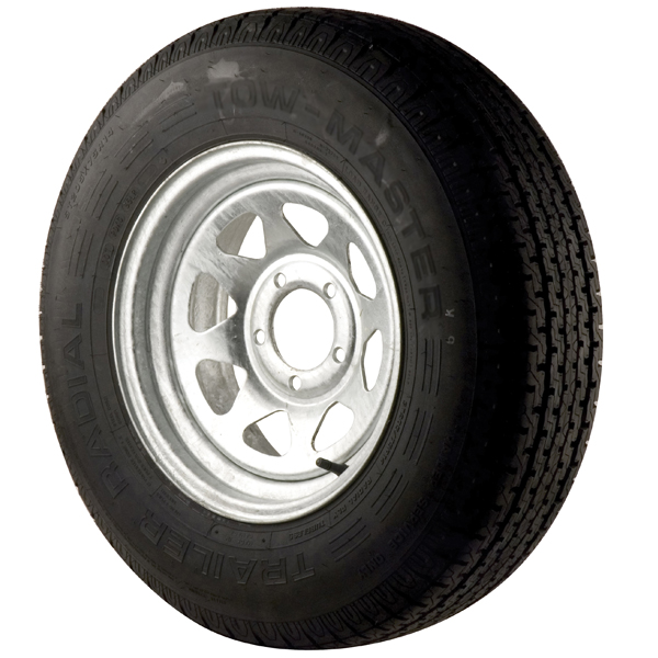 Trailer Tires & Wheels - Galvanized Spoke,  12 x 4 Rim, 4 x 4 Bolt, 530 x 12B, Bias, 840 Capacity