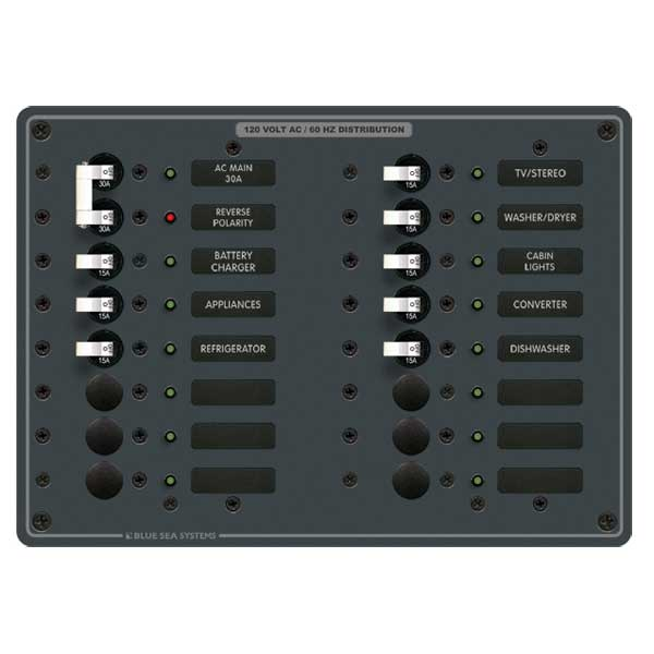 Blue Sea Systems AC Main Panel, AC Main + 14 Positions