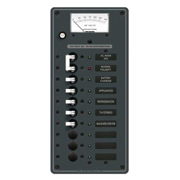 Blue Sea Systems 120V AC Main, AC Main + 8 Positions Sale $299.99 SKU: 5426580 ID# 8488 UPC# 632085084882 :