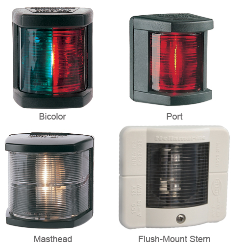Hella Marine Bicolor Light, 1nm Visibility, Green/Red Lens, 10/10pt Angle