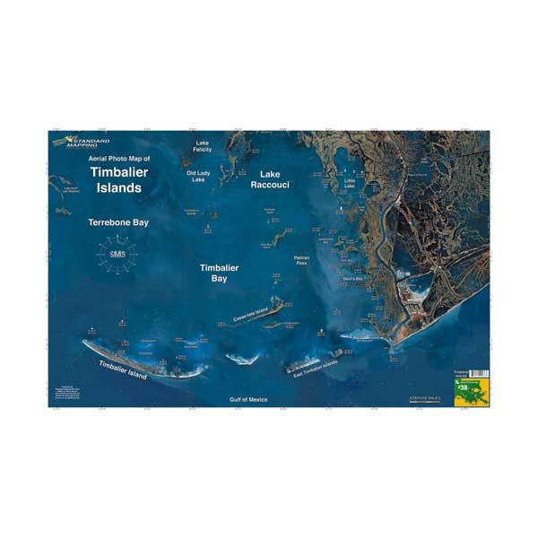 Standard Mapping Service Timbalier Islands, Louisiana Laminated Map