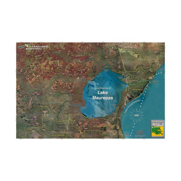 Standard Mapping Service Lake Maurepas, Louisiana Laminated Map