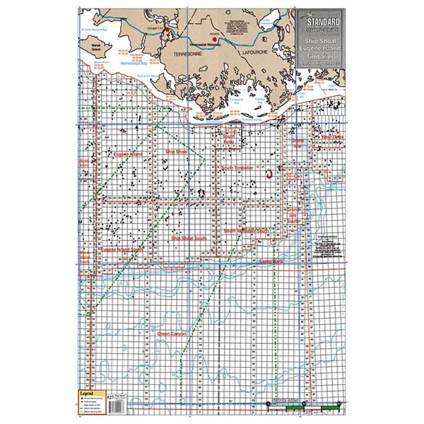 Standard Mapping Service Eugene Isle and Marsh Isle, Louisiana Block and Rig Chart