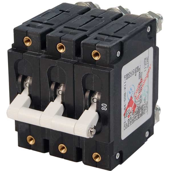 Blue Sea Systems C-Series White Toggle Circuit Breaker - Triple Pole 80 Amp