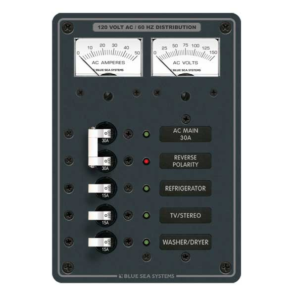 Blue Sea Systems AC Electrical Distribution Panel, AC Main + 3 Positions