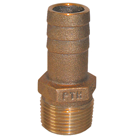 Groco PTH, Straight Standard Flow Bronze Fitting, 3 Pipe, 3 Hose, Dim 4x2, 3.58lb.