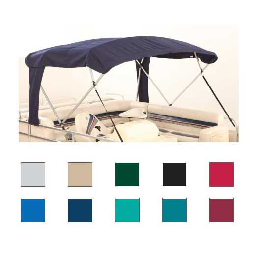 Attwood Buggy Style, Square Tube, 4-Bow Pontoon Bimini Tops, 96L, 97-102W, 48H, Burgundy